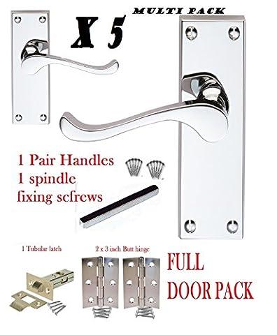 5Viktorianische Türgriffe mit Scroll-Verriegelung, polierte Chromscharniere und Laschen Pack (Türdrücker Latch)