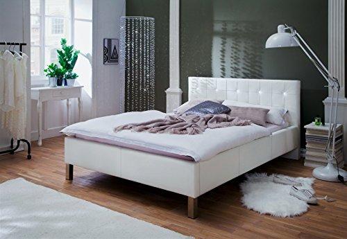 Polsterbett mit Swarovski Kristallen l Kunstleder l Metallfüße l 140x200 l Weiß l meise.möbel