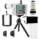 CamKix iPhone 4 / 4S Kamera-Objektiv-Set mit einem 8x Teleobjektiv / Fisheye Objektiv / 2 in 1 Makroobjektiv und Weitwinkel-Objektiv / Mini-Stativ / Universal-Halterung / Hard Case für Apple iPhone 4 / 4S / Samt Handytasche / CamKix Mikrofaser Reinigungstuch – Super Zubehör und Anbaugeräte für Ihre iPhone 4 / 4S Kamera
