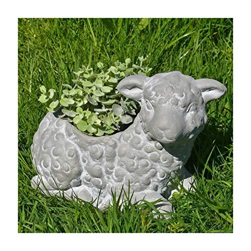 Prezents.com Lamm-Blumentopf, Beton-Effekt, für den Garten, tolles Accessoire oder Geschenk