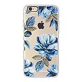 iPhone 6 Plus Hülle Case, Transparente Flexible Silikon TPU Schutzhülle, Schwarze Loch Kamera, Niedlich und Fantasy Pattern Schutz Etui für Apple iPhone 6 Plus / 6S Plus - Pfingstrose Blumen