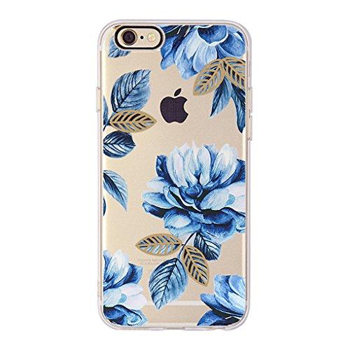 Coque iPhone 6 Plus, iPhone 6S Plus, OFFLY Transparente Souple Silicone TPU étui d' Protection, Caméra trou noir, Cute et Motif Fantaisie pour Apple iPhone 6 Plus / 6S Plus - Fleurs Bleues, coques iphone