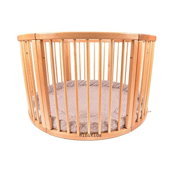 Round playpen made of solid wood with soft inlay, 120 cm diameter miniKids Height 70 cm approx; Ø 120cm Playpen from ALANEL MADE IN EUROPE including Playmat 2