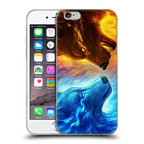 Ufficiale Jonas jojoesart Jödicke Lupo Galassia Animali Selvatici Cover Morbida In Gel Per Apple iPhone 5 / 5s / SE Fuoco E Ghiaccio