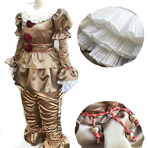 Yeming5704 Horror Clown Kostüm - Joker Narr Cosplay Deluxe Outfit für Halloween Fasching M