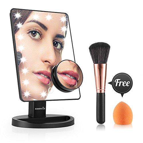 Easehold Makeup Spiegel mit 21 LED Lichter & Touchscreen, Beleuchteter Kosmetikspiegel mit 10-fach Vergrößerungsspiegel, Hochauflösend Tischspiegel 180° Schwenkbare, Leicht-Ideal für Reisen