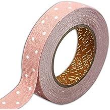 dailylike lkt111rollo de tela adhesiva lunares algodón rosa pesca 6,5x 6,5x 1,5cm)