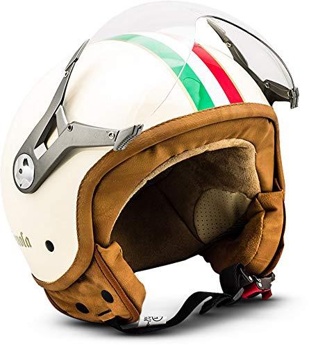 SOXON SP-325 Imola · Vespa-Helm Cruiser Scooter-Helm Helmet Pilot Motorrad-Helm Roller-Helm Chopper Mofa Biker Retro Vintage Jet-Helm Bobber · ECE zertifiziert · mit Visier · inkl. Stofftragetasche · Beige · XL (61-62cm)