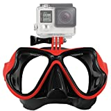 Lyhoon Máscara de buceo de cristal revestida para Submarinismo y Snorkel Compatible con Xiaomi Yi Cámara GoPro Hero 1, 2, 3, 3+, 4 SJ4000 SJ5000 SJ6000 (Rojo)