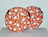 "2 x Zippy 15"" Round Cushions - Waterproof Fabric - Orange Tulip - Seat Pads for Home & Garden Furniture"