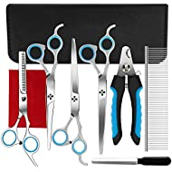 Ferbon 9 Pcs Dog Grooming Scissors Kits, 7 inches Pet Stainless Steel Curved, Straight, Thinning Shear Suit, Trimmer Kit with Dog Nail File, Clippers, Grooming Comb for Cat and Pet