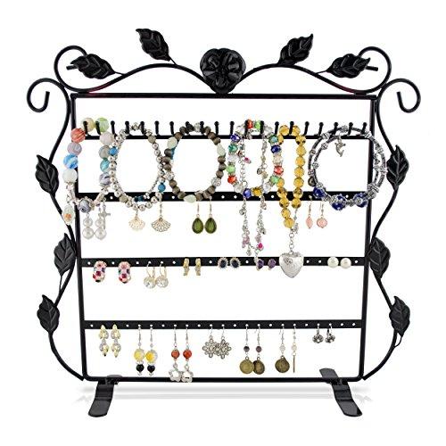VENKON - Gioielli Stare per Stoccaggio e Presentazione di Anelli Orecchini Bracciali Collane Organizer - Nero - 37 x 11 x 35 cm
