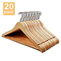 HOUSE DAY Wooden Hangers Premium Wooden Coat Hangers Suit Clothes Hangers with Trouser Bar 20Pcs