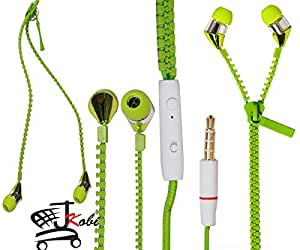 New Designed Zipper Style In Ear Bud Earphones Handsfree Compatible For Coolpad Rogue -Green