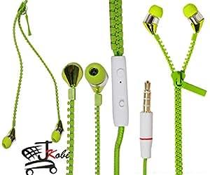 New Designed Zipper Style In Ear Bud Earphones Handsfree Compatible For Lenovo Vibe P1m -Green