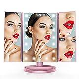 Homever Miroir Maquillage, Miroir de Bureau Lumineux à LED Grossissant 3X 2X 1X Pliable Rotation180 Degrés Batterie et Charge USB pour Femme/Maquilleur (Or Rose)