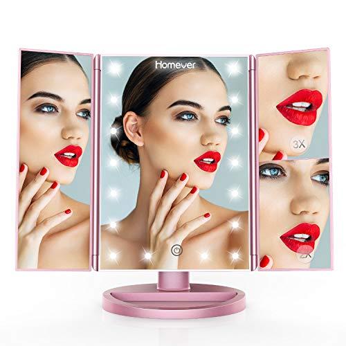 gel, Schminkspiegel mit Beleuchtung, 1x/2x/3x Vergrößerung mit 21 LED Leuchtmittel Touchscreen, Faltbare 180 Grad Drehbare Standspiegel, Dual Power, Upgrade Jahr 2018 (Roségold) ()
