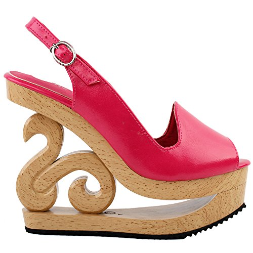 Rosa Ankle Wrap (Show Story heißen rosa Kurve Schnalle Slingback Open Toe Stud Holzkeile Plattform Clogs Sandalen, LF30835HP41, 41EU, Hot Pink)