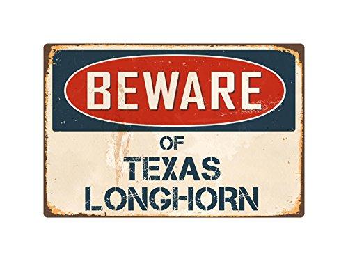 Metallschild Pirate Beware of Texas Longhorn, 20,3 x 30,5 cm, Vintage-Stil, Metall VS412 -
