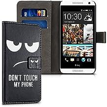kwmobile Funda para HTC Desire 610 - Wallet Case plegable de cuero sintético - Cover con tapa tarjetero y soporte Diseño Don't touch my phone en blanco negro