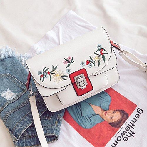 Weibliche Stickerei kleine quadratische tasche handtasche Schulter diagonale paket Weiß