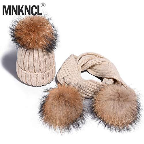 305653e79981a Hmmao Bonnets Bonnet Fille Chaud Tricoté Bobble Hat Et Écharpe Set Chapeau  d'hiver pour