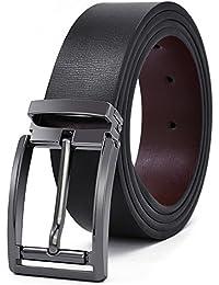 f5e643b8f20 NEWHEY Ceinture Homme Cuir Jeans Veritable Réglable Noir Marron 35mm de  Larges