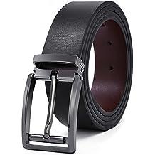 Cinturon Hombre Cuero Negro Ancho Reversible Casual De Negocios De Hebilla Cinturón Trabajo Hombre Marrón 125cm Largo