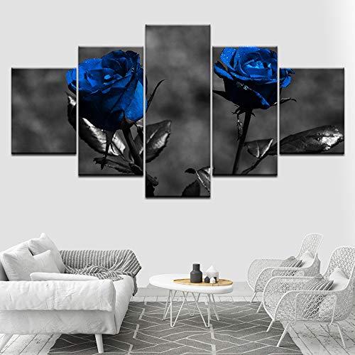 Giunuan Leinwand Kunstdrucke Wand 5 Stücke Blossom Blue Rose Blumen Moderne Rahmen Für Gemälde Dekor Modulare Bild Kinderzimmer Poster