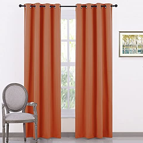 Eyelet Blackout Curtains Thermal Insulated - PONY DANCE Plain Super Soft Solid Blackout Window Treatment Curtain Draperies for Nursery / Privacy Protect, Double Pieces, W 46