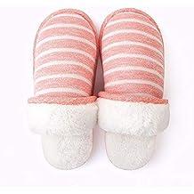 5f7571c039456 YMFIE Super Suave y de Alto Grado de Invierno Zapatillas de algodón a Rayas  de señoras