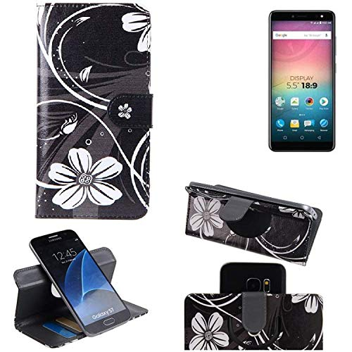 K-S-Trade Schutzhülle für Allview V3 Viper Hülle 360° Wallet Case Schutz Hülle ''Flowers'' Smartphone Flip Cover Flipstyle Tasche Handyhülle schwarz-weiß 1x