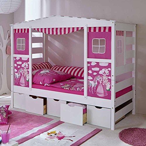 *Mädchen Kinderbett in Weiß Rosa Schubladen Pharao24*