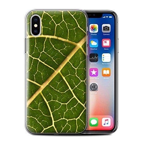 Stuff4 Gel TPU Hülle / Case für Apple iPhone X/10 / Rote Blume Muster / Britisch Landschaft Kollektion Grünes Blatt
