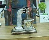 Hongge Kaminuhren,Kreative Retro-Uhr Hat alte Kettensäge Form Tisch Taktzähler Ornamente Ornamente - 29 * 27 * 11 cm
