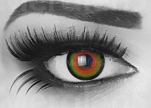 Funnylens 1 Paar farbige Crazy Fun tea time mad hatter Jahres Kontaktlinsen. perfekt zu Halloween, Karneval, Fasching oder Fasnacht mit gratis Kontaktlinsenbehälter ohne (Halloween Kostüm Hatter Kinder Mad)