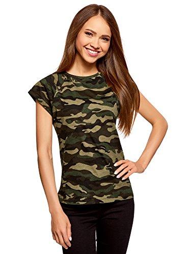 oodji Ultra Mujer Camiseta Estampada de Algodón, Verde, ES 38 / S