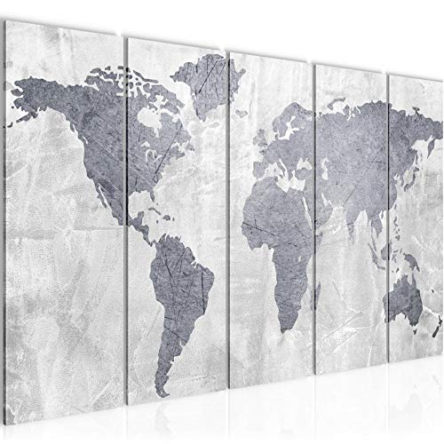 Photo Carte du monde Décoration Murale 150 x 60 cm Toison - Taille XXL Salon Appartement Décoration Photos d'art Gris 5 Parties - 100% MADE IN GERMANY - prêt à accrocher 104356c