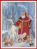 Caspari mit Trompetender Engel Weihnachten Karten, Box mit 16Stück Woodland Father Christmas