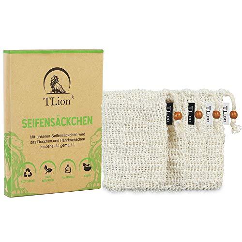TLion 4x Natur Seifensäckchen aus Sisal - BIO Seifenbeutel Set - mit Baumwoll-Labels - Natürliche Umweltfreundliche Verpackung - optimale plastikfreie Seifentasche für die ganze Familie
