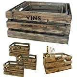 LS-LebenStil 3 Weinkisten Holzkiste Set Regal Obstkiste Blumenkübel Dekoration Box alt grau braun gewischt 3 Kisten