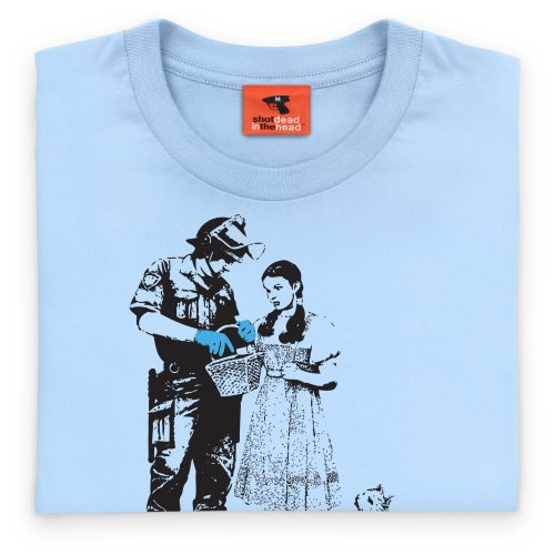 Banksy Stop and Search T-Shirt, Herren Himmelblau
