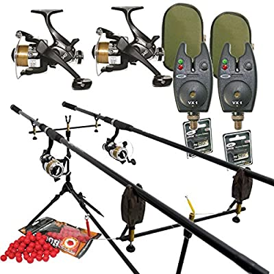 Full Carp Fishing Set Up Rods Reels Bite Alarms Rodpod PLUS 4 PACKS OF BOILIES from Carp-Corner