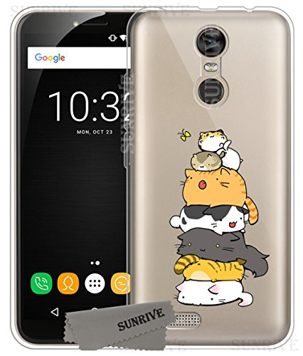 Für OUKITEL C8 Hülle Silikon,Sunrive Transparent Handyhülle Schutzhülle Etui Case Backcover für OUKITEL C8(tpu Katze 3)+Gratis Universal Eingabestift