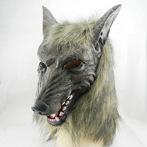 XY Fancy Halloween lustige Maske, super grässlicher Wolf Kopfmaske aus Latex Tierkostüm (Wirklich Clown Beängstigend Bilder)