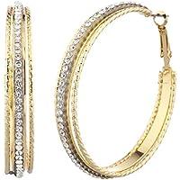 Lux accessori, grande oro tono singola fila Cutout pavé in cristallo e orecchini a cerchio