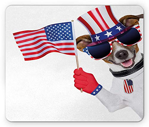 WYICPLO 4th of July Mouse Pad, Patriotic American Breed Dog Celebrating with Flag Hat and Old Glory Dog Tag, Standard Size Rectangle Non-Slip Rubber Mousepad, Multicolor -