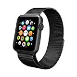 Apple Watch Band, Swees 42mm Milanese Loop Stainless Steel Bracelet Strap Replacement Wrist Band with Unique Magnet Lock for Apple Watch Series 2 (2016) / Series 1, No Buckle Needed - Black