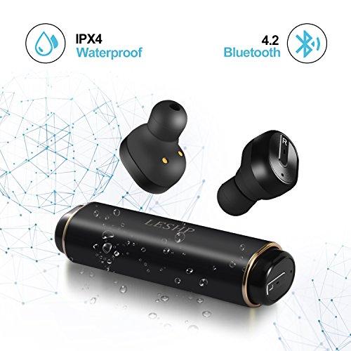 Mini auricolari bluetooth senza fili 4.2, sport auricolari impermeabili ipx4 sweatproof con microfono, stereo cancellazione di riduzione per dispositivi iphone, android e windows (neri)