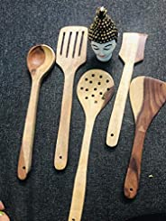 SKAFA Mango Wood Cooking Spoon, Set of 5, Brown